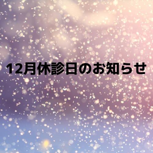 【12月休診日のお知らせ】